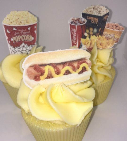 Cinema/Popcorn/Tickets cake toppers